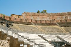 Ruins of the Greek Roman Theater, Taormina, Sicily, Italy Stock Images