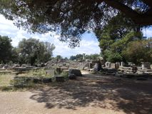 Ancient greek ruins under the sun royalty free stock photography