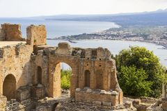 Ruins of Greek Theater in Taormina, Sicily, Italy Royalty Free Stock Photo