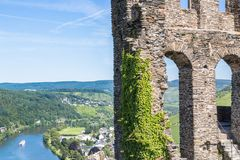 Ruins of Grevenburg castle above Traben-Trarbach, German Mosel v Royalty Free Stock Photos