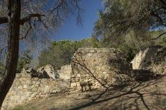 Old Grist Mill sandstone ruins in Santa Barbara, California. Ruins of a grist mill from 1827 in Santa Barbara, California near the Mission Stock Photo