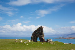 Ruins in the grounds of Iona Abbey Scotland uk beautiful spring weather at this historic landmark Royalty Free Stock Photos