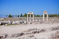 Ruins of the gymnasium in the ancient city of Hierapolis. Turkey Royalty Free Stock Photography