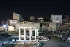 Ruins of Hadrian library in Athens Royalty Free Stock Images