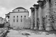Ruins of HAdrians Library. A view of the ruins of Hadrians library in the city of Athens Stock Images