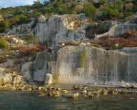 Ruins of Half-sunken Ancient Town Simena Stock Photos