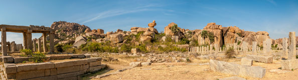 Ruins in Hampi Complex. Panorama View Royalty Free Stock Photos