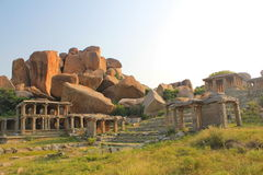 Ruins of Hampi, India. Hampi, the former capital of Vijayanagara Empire, whose powerful ruler,Sri Krishnadevaraya is very known in Indian history is located in Stock Photos
