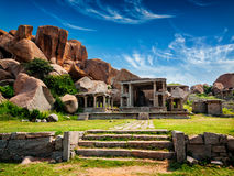 Ruins in Hampi. Tourist indian landmark Ancient ruins in Hampi. Hampi Bazaar, Hampi, Karnataka, India Royalty Free Stock Photography
