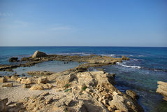 Ruins of harbor at Caesarea Royalty Free Stock Image