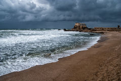 Ruins of harbor at Caesarea. Ancient roman port in Israel Stock Photography