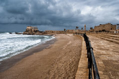 Ruins of harbor at Caesarea. Ancient roman port in Israel Royalty Free Stock Photography
