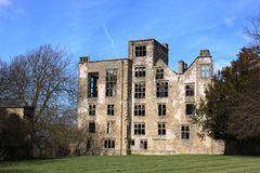 Ruins of Hardwick Old Hall, Derbyshire, England. Art of the . Built by Bess of Hardwick from 1587 to 1596 in the Tudor period, it is now looked after by English Royalty Free Stock Photos