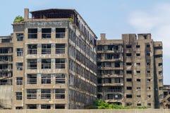 Ruins of Hashima Elementary/Intermediate School in Gunkanjima (Hashima) Stock Photography