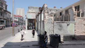 Ruins in Havana, Cuba. Havana Central district is full of ruins. People live in this buildings as long as they stand. Once they fell apart nobody takes care of stock video footage