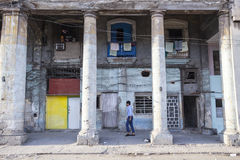 Ruins in Havana, Cuba. Many buildings in Havana near famous Malecon are badly ruined during the period after the revolution. Some of them are dangerous for Stock Photo