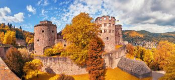 Ruins of Heidelberg Castle in Autumn, panoramic image stock images