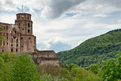 Ruins of Heidelberg Castle Set in Lush Hillsides Stock Image