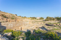 Ruins of Hellenic Theater in Paphos Stock Photo