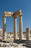 Ruins of Hellenistic stoa. In Acropolis of Lindos Stock Photos