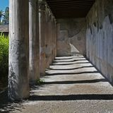 Columns Ruins in Herculaneum in Italy stock photography