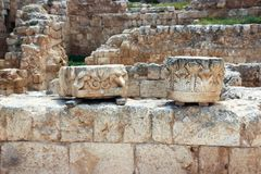 Ruins of Herodium Herodion Fortress of Herod the Great,  Judaean Desert near to Jerusalem, Israel. Ruins of Herodium Herodion Fortress of Herod the Great Royalty Free Stock Images
