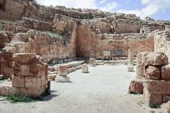 Ruins of Herodium Herodion Fortress of Herod the Great,  Judaean Desert near to Jerusalem, Israel. Ruins of Herodium Herodion Fortress of Herod the Great Stock Images