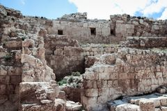 Ruins of Herodium Herodion Fortress of Herod the Great,  Judaean Desert near to Jerusalem, Israel. Ruins of Herodium Herodion Fortress of Herod the Great Stock Photo