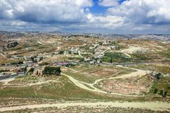 Ruins of Herodium Herodion Fortress of Herod the Great, Judaean Desert near to Jerusalem, Israel. View from Herodium Fortress wa. Lls Royalty Free Stock Images
