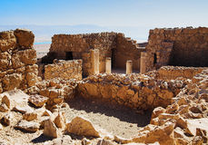 Ruins of Herods castle in fortress Masada Stock Images