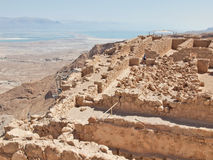 Ruins of Herods castle in fortress Masada, Royalty Free Stock Photo