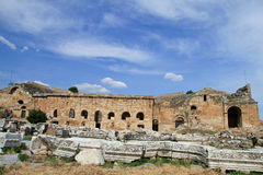 Ruins at Hierapolis. Ancient ruins in Hierapolis, Pamukalle, Turkey stock photography