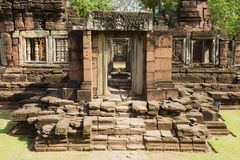 Ruins of the Hindu temple in the Phimai Historical Park in Nakhon Ratchasima, Thailand. It is one of the most important Khmer temples in Thailand stock photography