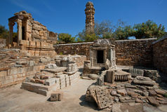 Ruins of hindu temples and 15th-century Tower Royalty Free Stock Images