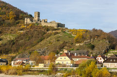 Ruins of the Hinterhaus Castle above the town of Spitz, Austria Royalty Free Stock Image