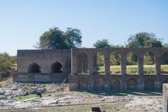 Ruins of Historic Architecture in Mandav Madhya Pradesh. Showing pillars and arches stock photos