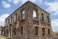 Ruins of a historic building in the city of alcantara. The time of colonial Brazil, are tourist spot and Luis do Maranhao of Brazil Royalty Free Stock Photography