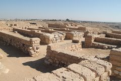 Ancient Tel Beer Sheva, Israel. Ruins of historic buildings made of stones at the Archeological National park Tel Beer Sheva, Israel royalty free stock images