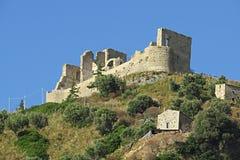 Fiumefreddo castle. The ruins of the historic castle of fiumefreddo del bruzio in south italy stock photo