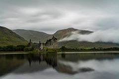 The ruins of historic Kilchurn Castle. And view on Loch Awe Stock Photography