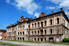 Ruins.Historical monument `house of the merchant of Vilner`.The City Of Minusinsk, Siberia. Royalty Free Stock Photography