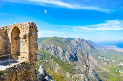Ruins of historical Saint Hilarion Castle in Northern Cyprus offering an amazing view of beautiful Kyrenia region. And Mediterranean. One of the most popular royalty free stock photo