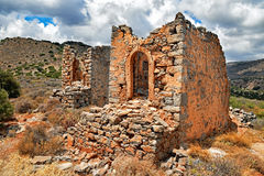 Ruins of historical windmills on the island of Crete in Greece Royalty Free Stock Photography