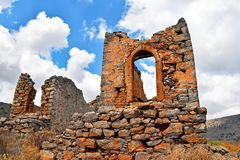 Ruins of historical windmills on the island of Crete Greece Royalty Free Stock Photo