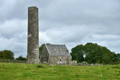 Ruins on Holy Island in Lough Derg in Ireland royalty free stock photos