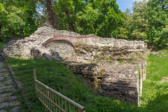 Ruins of the homes in the ancient Roman city of Diokletianopolis, town of Hisarya, Bulgaria stock images