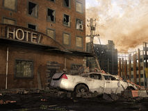 Ruins of a hotel. Ruins of an old hotel with a car in the street royalty free illustration