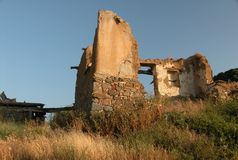 Ruins of a house. Remaining ruins of an old house Royalty Free Stock Photo