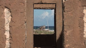 Ruins of house on Bonaire stock video