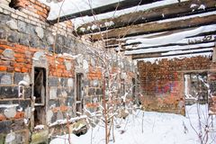 Ruins of the house burnt royalty free stock photography